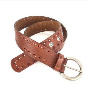 Fossil Brown Leather Tooled Belt Metal Studs M